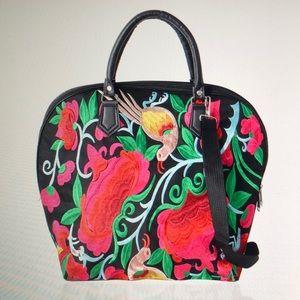 Handbags - FUCHSIA MULTI COLOR CANVAS TRAVEL BAG